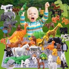 20 pçs/lote Zoo Animal Grande Tamanho Grande Blocos de Construção Iluminai Criança Brinquedos Leão Porco Conjunto DIY Tijolo Compatível Duploed Presentes Dos Miúdos