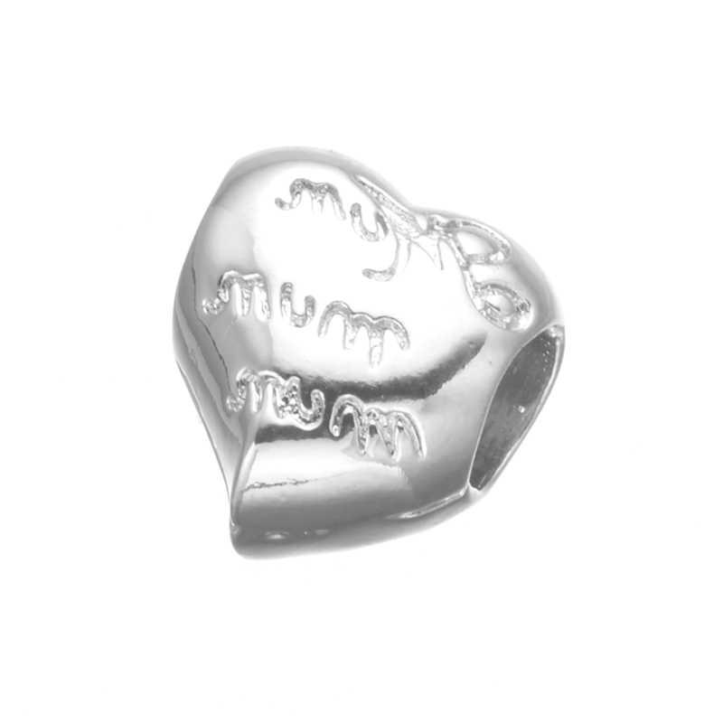 SONGDA ใหม่ Micro Pave CZ หัวใจ Cubic Zirconia ลูกปัด DIY เครื่องประดับสร้อยข้อมือคู่หา PZ0149