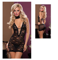 2015 Sexy Lingerie Lace Backless Women Mini Night Dress Transparent Cleavage Halterneck Sheath Lingerie lenceria erotica AB249
