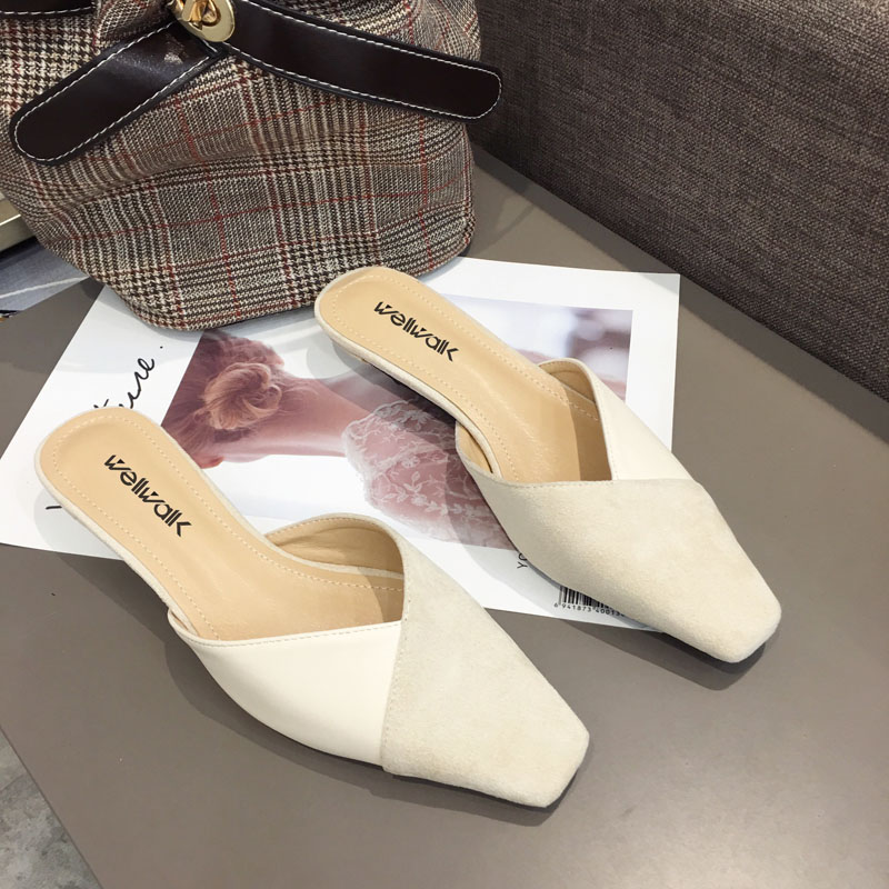 Wellwalk Heel Slippers Women Mules Elegant Heel Slides Women Designer Slippers Ladies Mules Small Heel Slider Shoes Square Toe in Slippers from Shoes