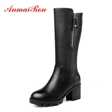 AnmaiRon Round Toe Basic Knee-High Square heel boots women zapatos de mujer shoes  snow winter Size 34-41 ZYL1538
