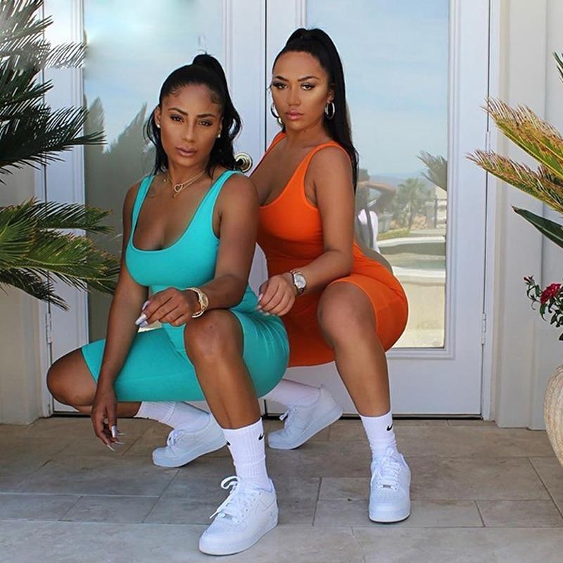 New 2019 Slim Womens Summer Sleeveless Bodysuit Stretch Leotard Romper Jumpsuit Short Pants