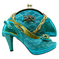 Sapatos da moda e saco conjunto para atacado de alta qualidade da moda céu azul sapatos italianos e bolsas para combinar com as mulheres. KK1-45