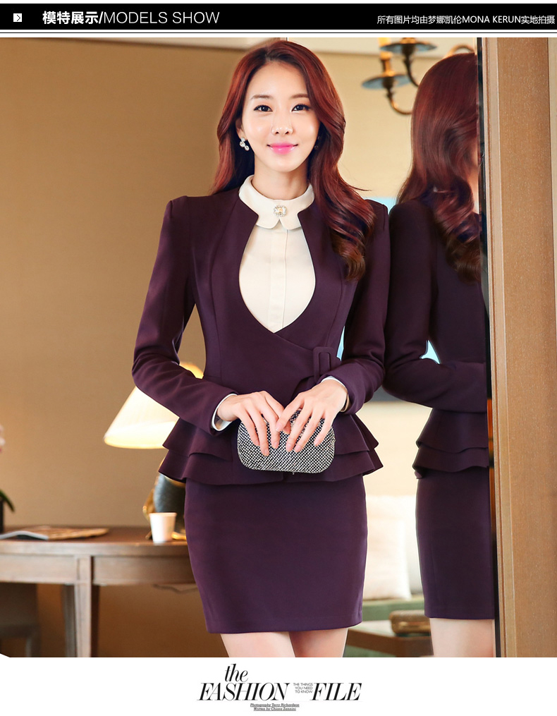 067c198582a New Autumn fashion women ruffles skirt suits career OL blazer ...