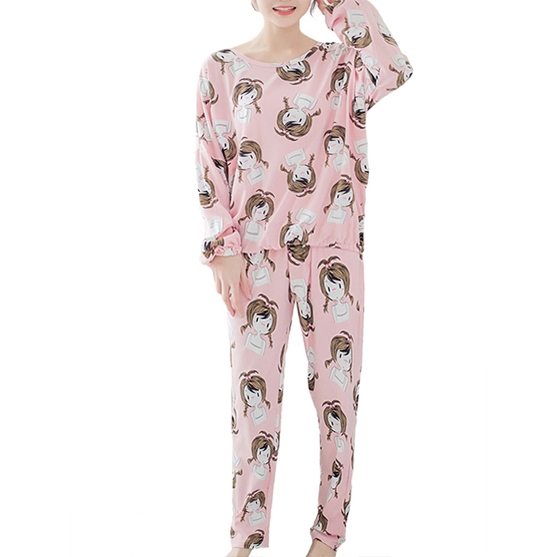 Women's Sleepwear Set Cute Little Girl Pattern Long Sleeve Sweet Home Suit