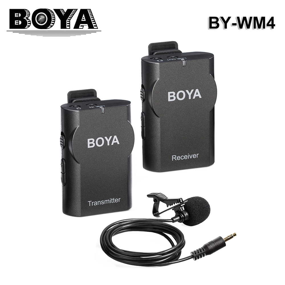 BOYA BY-WM4 2.4G Wireless Interview Condenser Microphone Omnidirectional Wireless Microphone System Professional For DSLR Camera professional lapela condenser saxophone microphone music instrument microfone for shure wireless system xlr mini microphones