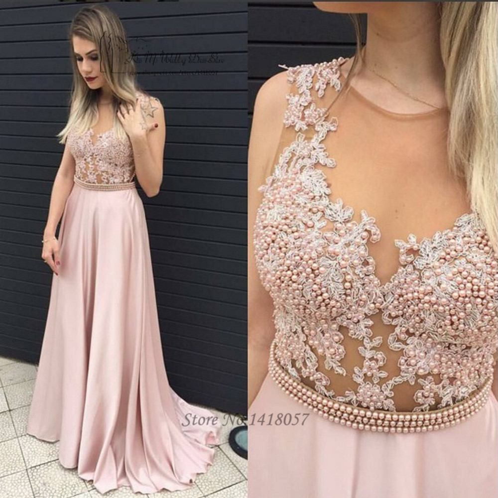 Indian Sexy See Through Pink Prom Dresses Cheap Long Evening