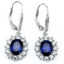 925 Joyas de Plata Pendientes de Gota Azul Cristal de Zafiro Pendientes Muchacha de Las Mujeres del Partido del Regalo de Boda Brincos