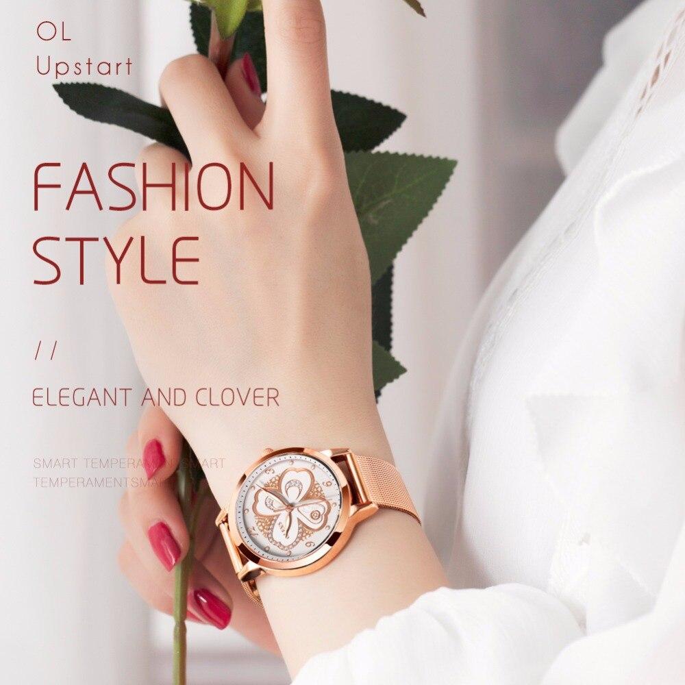 OLEVS Watch Woman Rose Gold Mesh Steel Fashion Leather Waterproof Luminous Hands Dress Women's Watch relogio feminino kol saati
