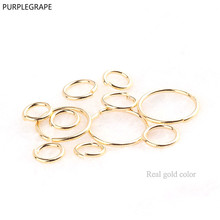DIY earrings jewelry accessories copper plated gold color single ring connection circle open ring bracelet material 10pcs