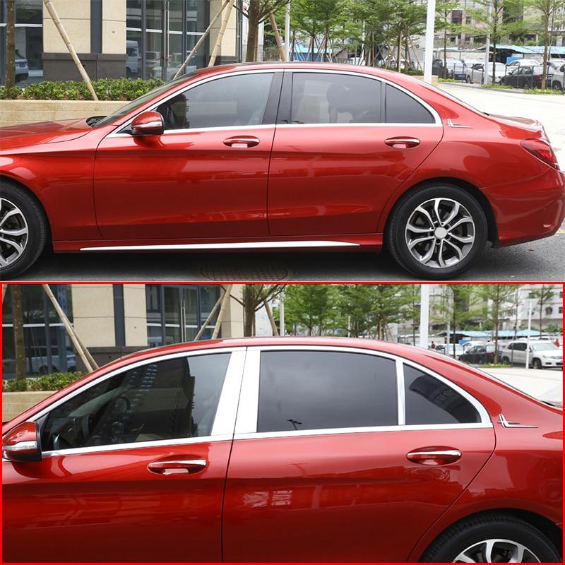 Polished Aluminum Alloy B C Window Pillar Post Trim Kit Cover Trim For Mercedes Benz W205 C Class 2015-2019 Accessories