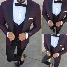 Burgundy Slim Fit Men Suits for Prom Stage Wedding Groom Tuxedo Black Peaked Lapel Blazer Tailor Made 3 Piece Jacket Pants Vest burgundy slim fit men suits for prom stage wedding groom tuxedo black peaked lapel blazer tailor made 3 piece jacket pants vest