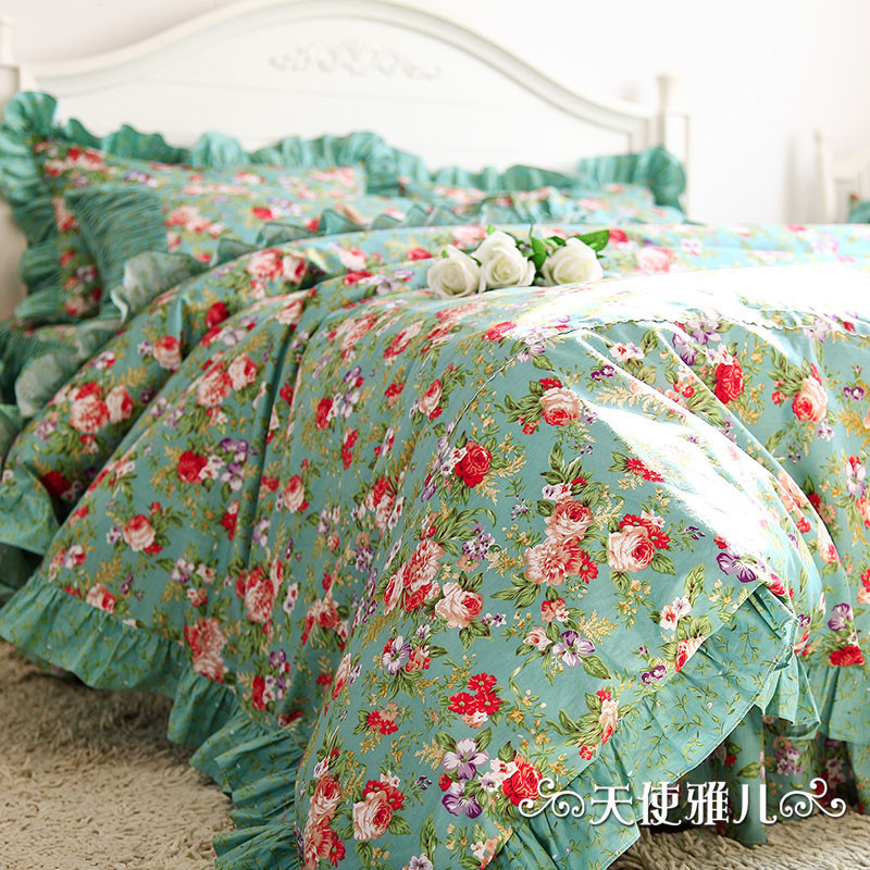 buy designer mint green bedding set elegant american country style vintage floral comforter set romantic fairy girls bed in a bag from