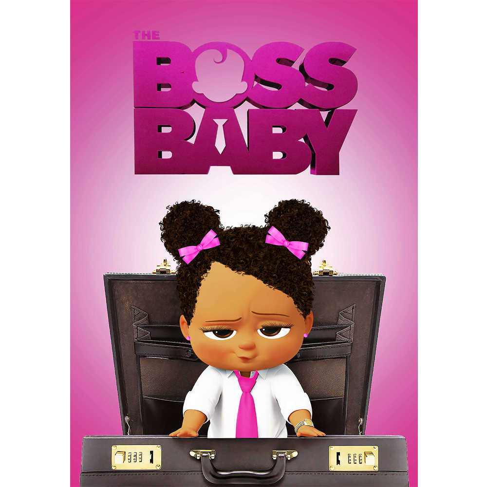 Colorwonder Baby Girl With Braids Sitting On A Chair With Black Briefcase Photo Background African American Boss Baby Backdrop