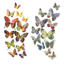 Butterfly Wall Stickers Double Layer 3D Butterflies Gold Silver Colorful Bedroom Living Room Home Fridage Decor 12Pcs Wall Art high quality 3d colorful butterfly shape removeable wall stickers