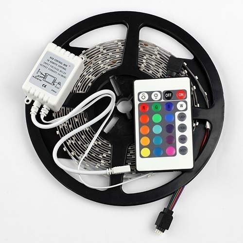 5m/pcs SMD 3528 RGB 300 LED Color Changing Kit With Flexible Strip Light+24 Key IR Remote Control