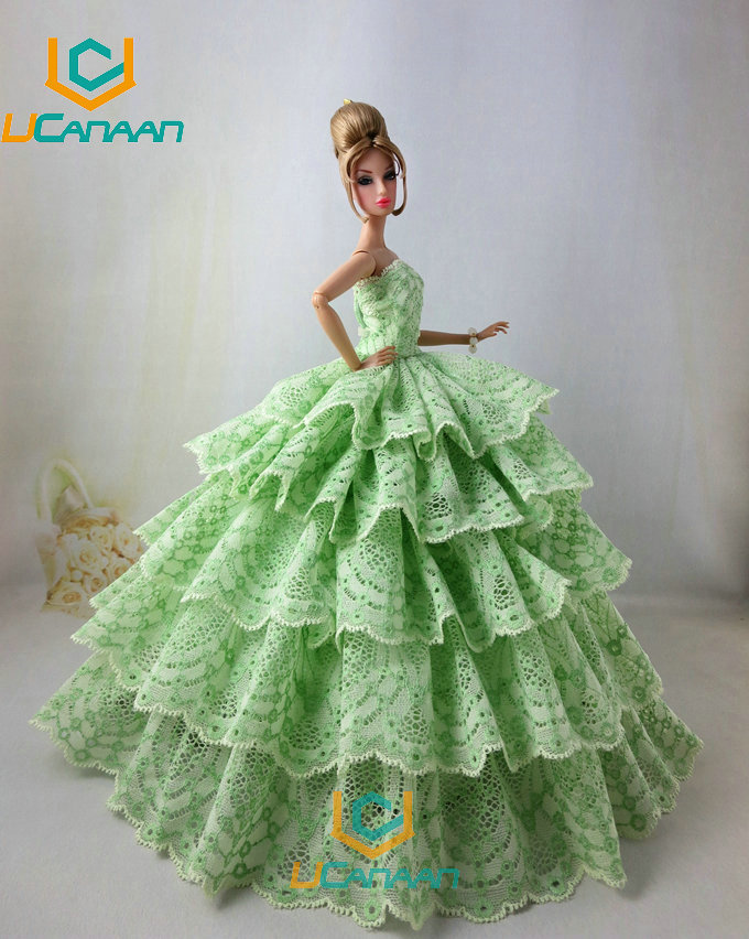 Not Include the Doll Ucanaan 1 PC Inexperienced Coloration Celebration Wedding ceremony Gown For Barbie Doll Restricted Assortment Elegant Handmade Gown Reward