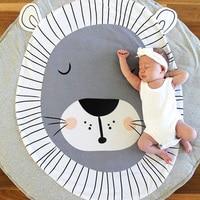 Cotton Cartoon Fox/Lion/Panda Kids Game Mats Baby Crawling Blanket Kids Bedroom Carpet Round 95cm Decor Mat Infant Room Play Rug