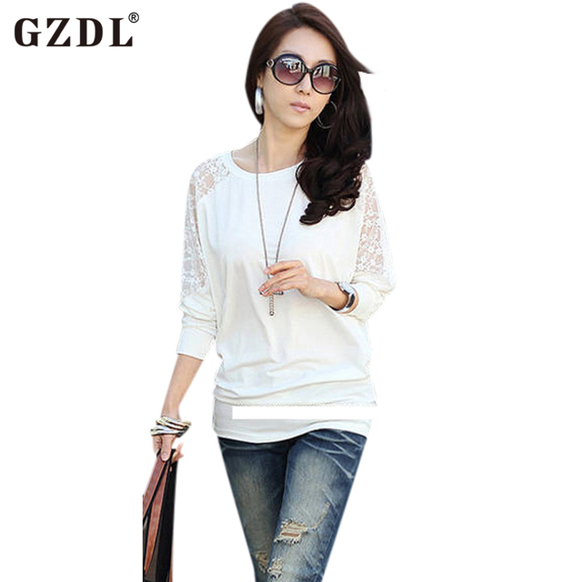 Spring Autumn Long Sleeve Shirt Lace Crew Neck Dolman Batwing Tee Shirt Casual Loose Women T-Shirt Top Blusas Black White CL0662