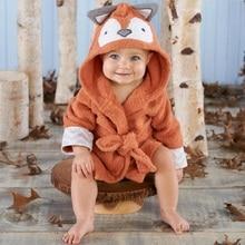 Купить с кэшбэком Winter Baby Bath Robe Boys Girls Clothes Kids Bathrobe Cartoon Animals Hooded Towel Pajamas Clothes Hooded Towel