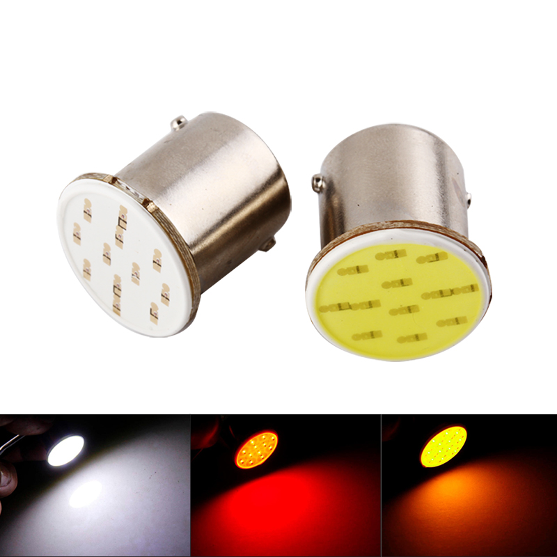 2Pcs 1156 BA15S COB LED Bulbs P21W R5W Turn Signal Backup Lights Trailer Truck Interior Reverse Tail Bulb 12V 3W White Red Amber 2pcs 3157 78 ex chipsets 3057 3056 4157 led bulbs for turn signal tail brake stop lights red white amber color double connectors