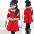 Горячая распродажа! 2015 новые зимние и осенние девушки шерстяной пиджак детей двубортные шерстяное пальто ребенок мода пальто