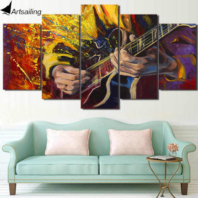 HD Printed 5 Piece Canvas Art Guitarist Wonderful Play Guitar Wall Pictures  For Living Room Modern