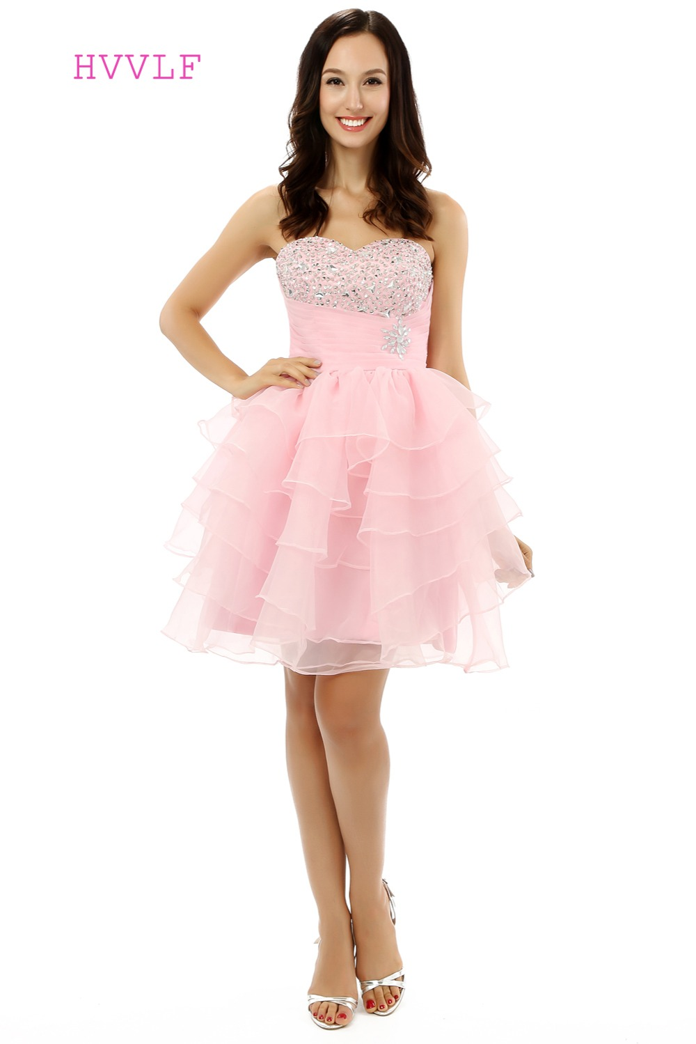 Pink Homecoming   Dresses   A-line Sweetheart Organza Lace Crystals Short Mini Sparkly Sweet 16   Cocktail     Dresses   2019