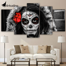 5 Pieces Canvas Painting Printed abstract sugar skull style Wall Art Canvas  Modular Living Room Bedroom Home Decoration ny-2884 f7329ef6eef6
