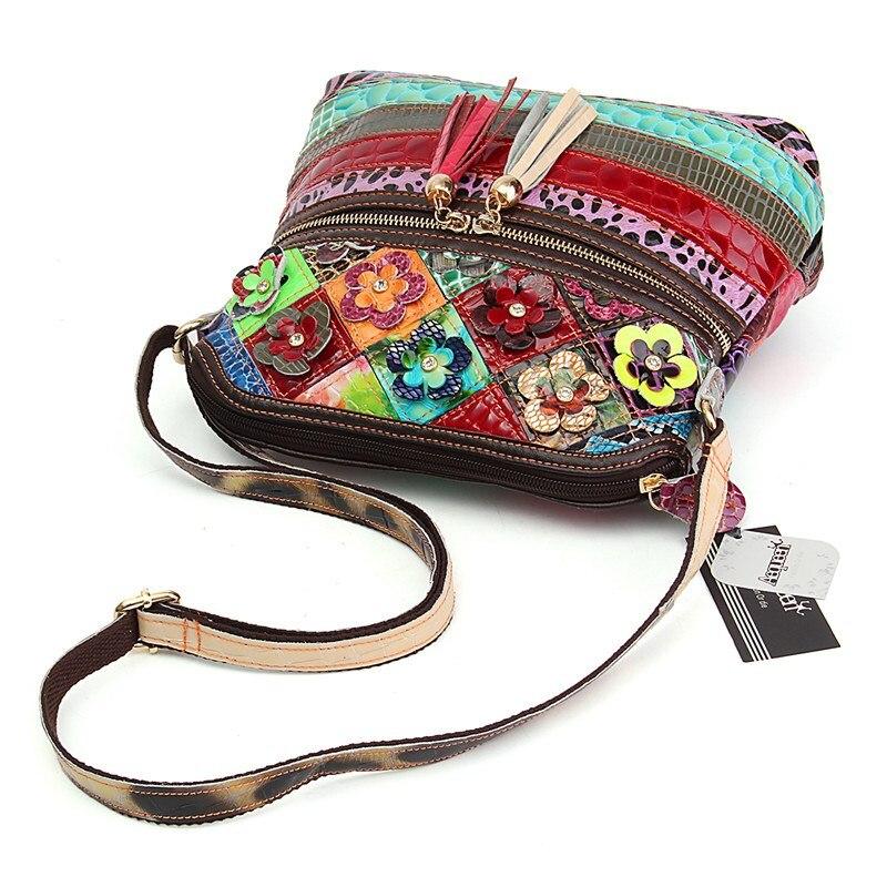 flor borlas bolsa crossbody sacolas Bag Estilo 1 : Patchwork Women Leather Handbags Ladies Bag