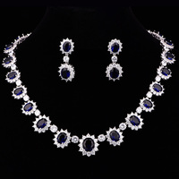 Gorgeous Blue Cubic Zirconia Wedding Statement Necklace Set Gift Box Packing Aniversary Gift For Wife Silver Color CZL 6126
