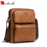 Hot Sale CONTACT S Genuine Cow Leather Men Bags Ipad Handbags Male Messenger Bag Man Crossbody