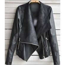 2017 Women Faux Leather Jacket PU Leather O-Neck Black Short Female Coat Spring Autumn Plus Size 4XL Jackets