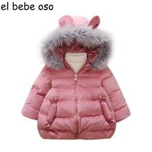 Фотография New Baby Girls Cotton Coat Winter Fashion Fur Collar Hooded Jacket Thick Warm Velour Outerwear Candy Children Kids Clothes XL254