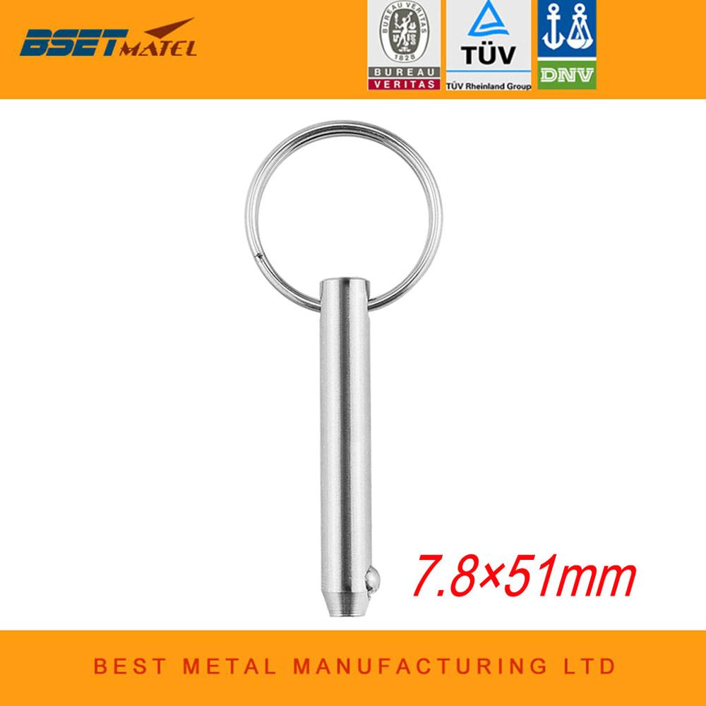 7.8*51mm BSET MATEL Marine Grade 316 Stainless Steel 5/16 Inch Quick Release Ball Pin For Boat Bimini Top Deck Hinge
