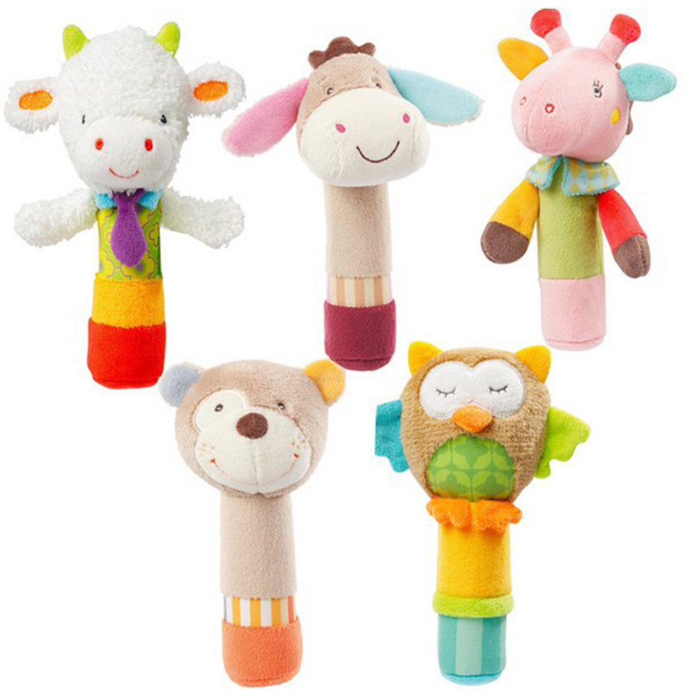 US $2 77 21% OFF|New Born Kids Baby Toys BeBe Bar Animal Squeaker Bar Toys  Baby Hand Puppet Enlightenment Plush Doll Kids Soft Handbells Rattles -in