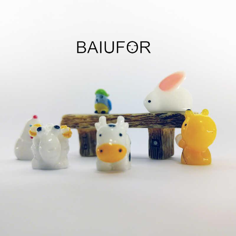 BAIUFOR Mini Animals Parrot Bee Rabbit Sheep Cow Fairy Garden Miniaturas Micro Moss Landscape diy Terrarium Figurines
