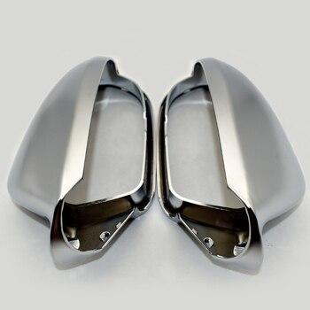 1 Pasang Mobil Kaca Spion Shell Cover Tutup Pelindung Matte Chrome untuk Audi A6 C7 S6 2012-Sayap Cermin aksesoris Mobil Penutup