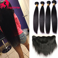 Peruvian Virgin Hair Straight Hair With Closure 3/4 Bundle Deal Cheap Lace Frontal Closures 13*4 With Bundle Straight Human Hair