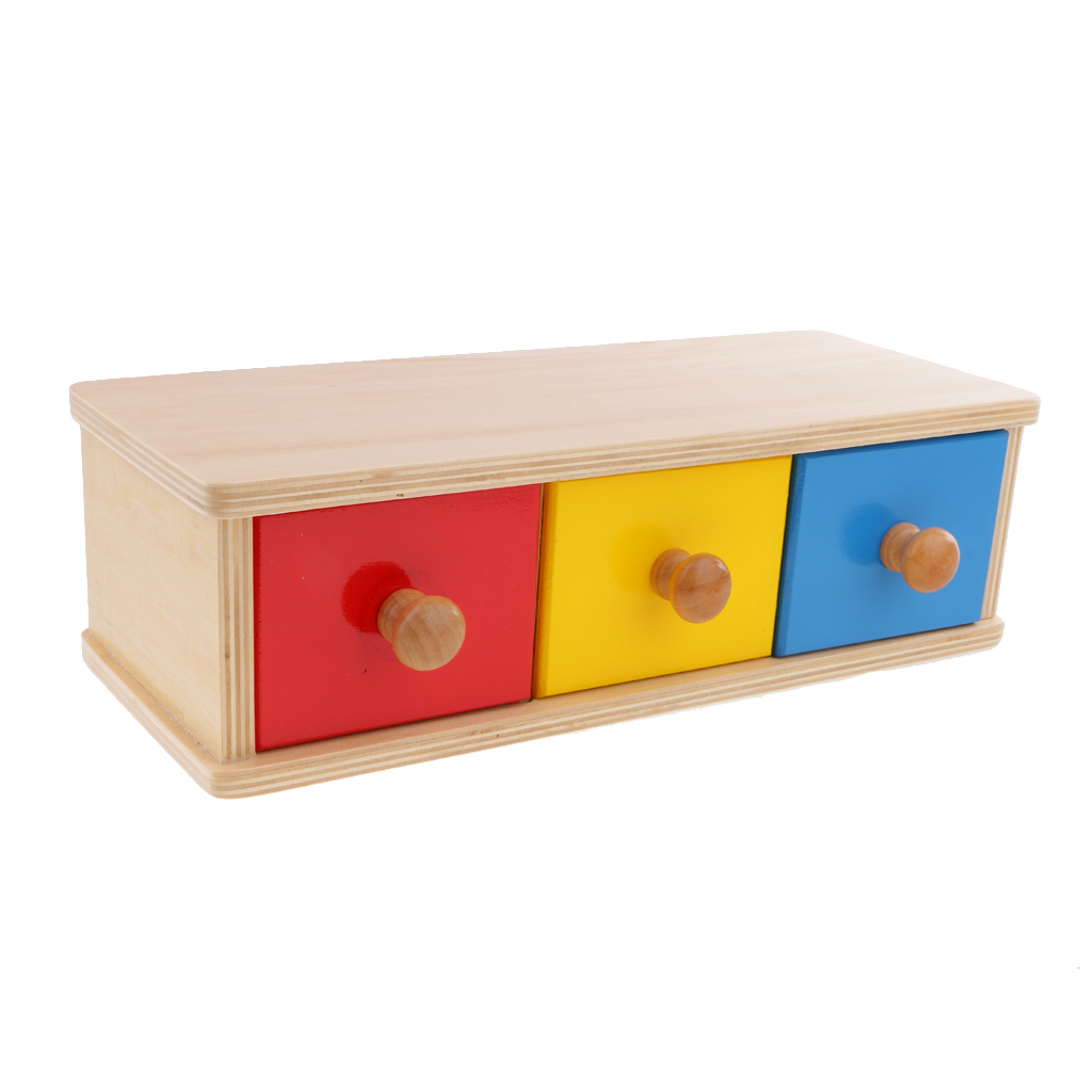 Montessori Education Three Wood Drawers & Shape Sorting Box Geometry Blocks Kids Sensory Toy Early Learning Gift montessori education six layer geometric cabinet beech wood sensory tools early educational toys can smarter