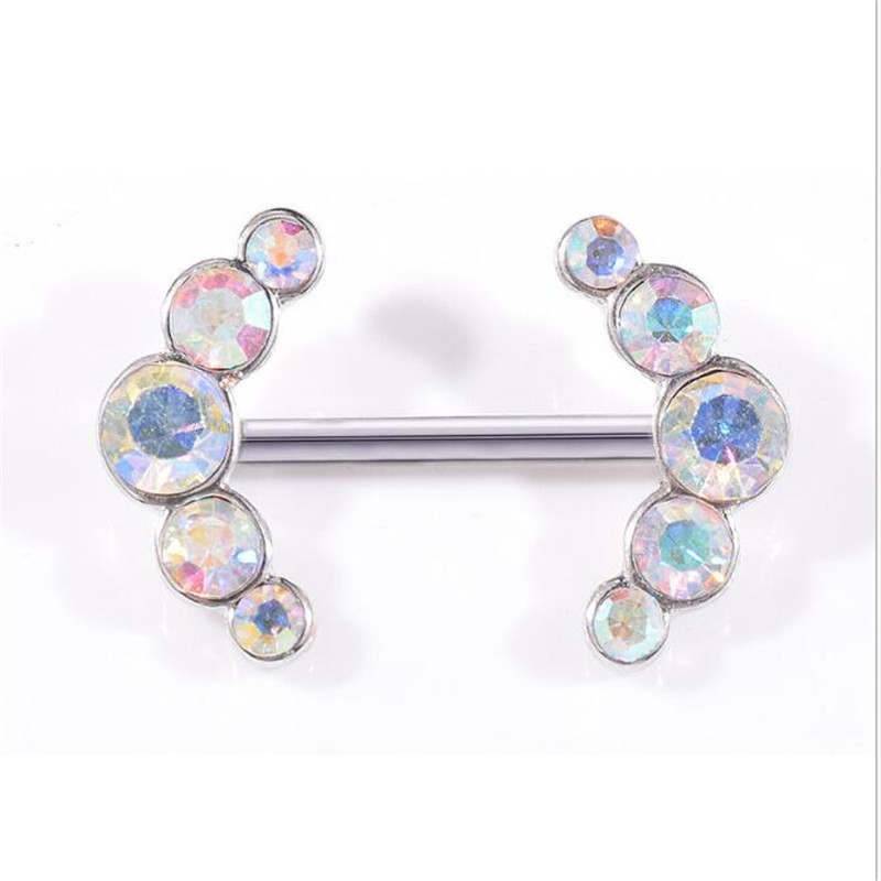 2PCS Trendy White Crystal Nipple Rings Piercing For Women Sexy Barbell Nipple Rings Cover Jewelry Body Piercing Accessories
