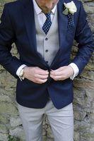 Designs Coat Pant mới nhất Hải Quân Màu Xanh Và Xám Formal Tùy Chỉnh chú Rể Phù Rể Phù Hợp Với Dapper Slim Fit Tuxedo 3 Cái Masculino 53