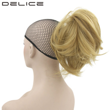 [DELICE] 14inch Women's Blonde Burgundy Curly Claw Short Ponytail Clip In High Temperature Fiber Synthetic Hair Extensions