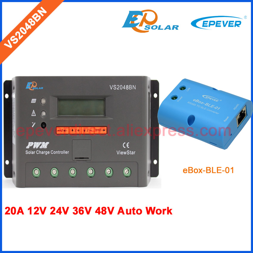 PWM new arrival 20A system controller VS2048BN EPEVER Bluetooth eBOX-BLE-01 adapter Solar portable controller 48V 36V ebox wifi 01 and usb communication cable pwm controller lcd display vs2048bn solar battery controller 20a 48v 36v epever