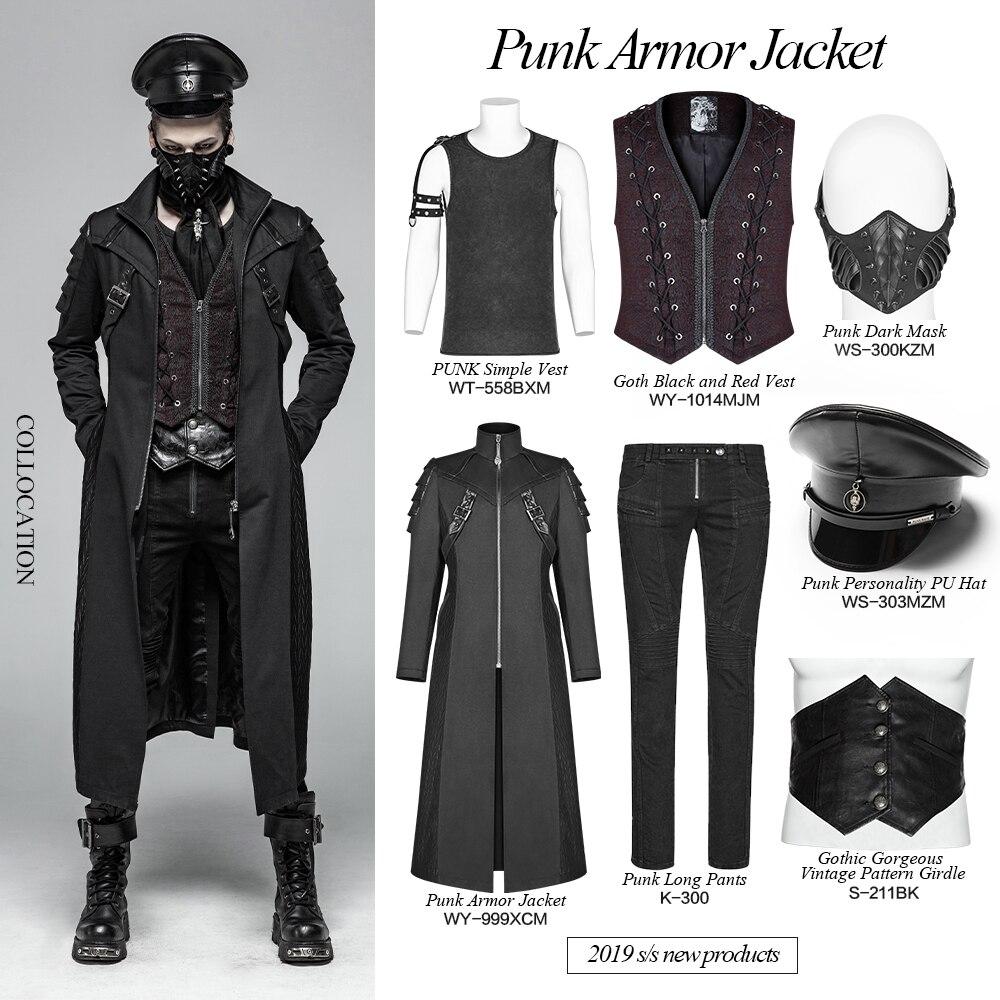 Großhandel PUNK RAVE Männer Steampunk Schwarzer Soldat Mittellange Mantel Mode Männer Gothic Bühnenkostüme Männer Casual Cool Long Coat Von Jingju,