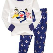 JQ-69 Doraemon детские пижамы с длинными рукавами для мальчиков, комплекты одежды для сна для От 2 до 7 лет хлопковый трикотаж