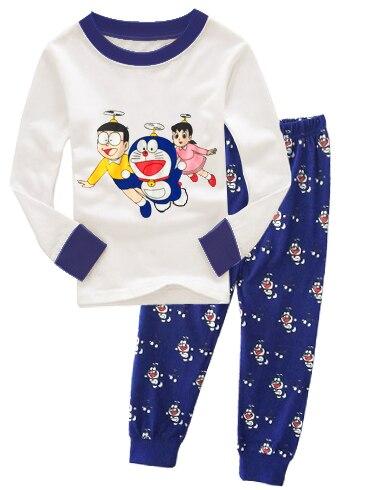 JQ-69, Doraemon, Children boys long sleeve   pajamas   sleepwear   sets   for 2-7Y, 100% cotton jersey