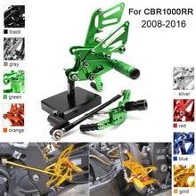 цена на CNC Aluminum Adjustable Rearsets Foot Pegs For Honda CBR1000RR CBR 1000RR 2008 2009 2010 2011 2012 2013  2014 2015 2016