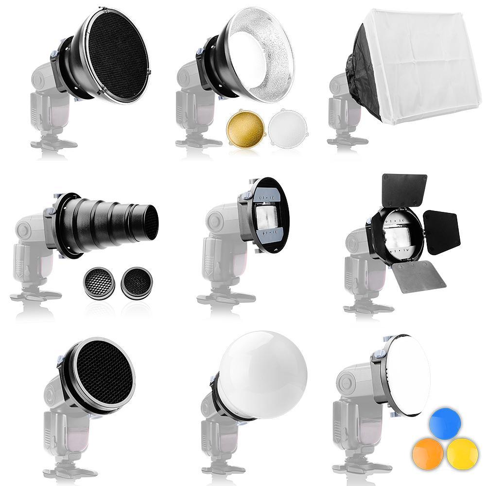 Universal Speedlite Flash Accessories Kit Adapter Mount+Barndoors+Snoot Standard Reflector+Diffuser Ball for DSLR P0023291 genuine meike mk950 flash speedlite speedlight w 2 0 lcd display for canon dslr 4xaa