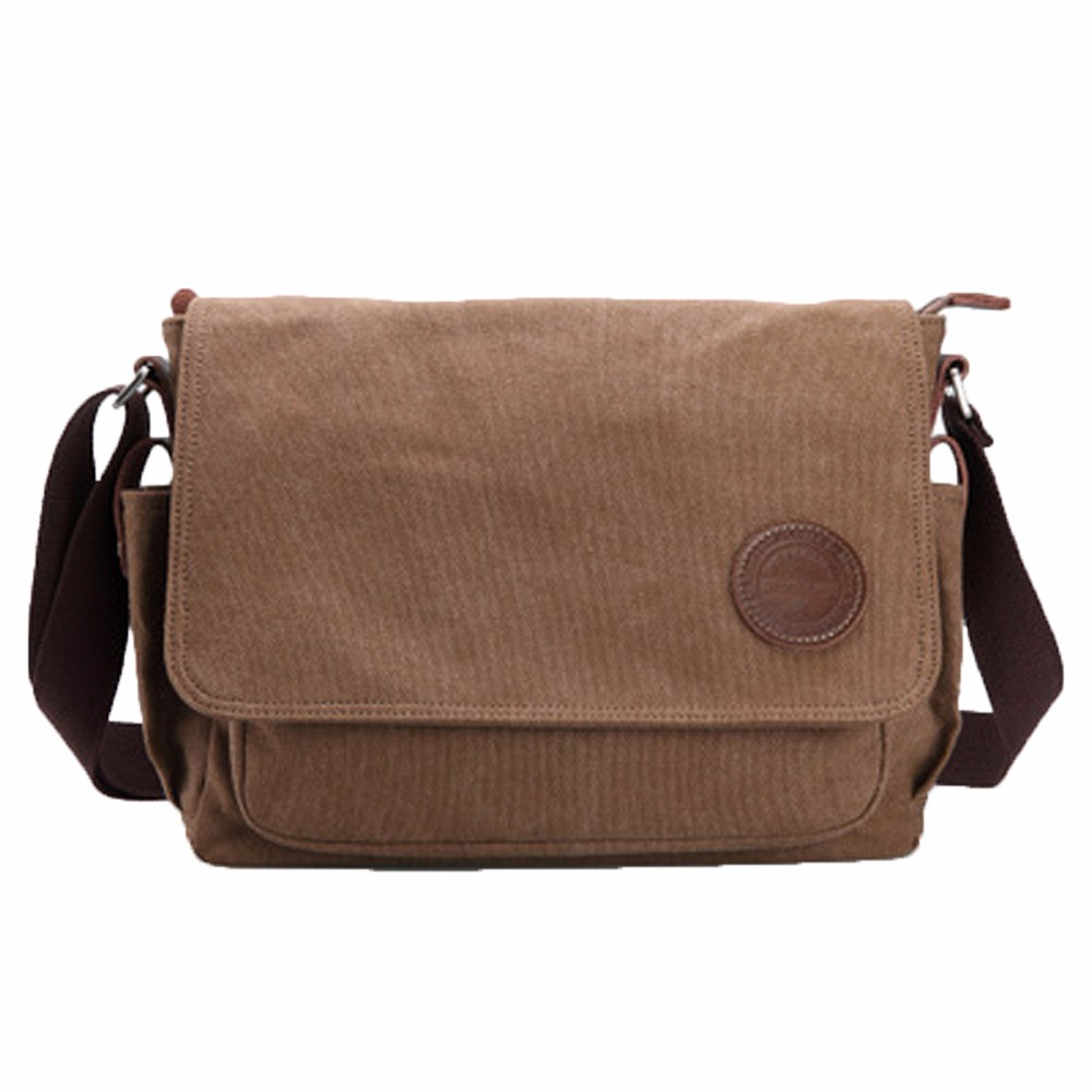 Black Vintage Messenger Bags Canvas Satchel School Military Shoulder Bag Boy's Travel Handbag Business Crossbody Bag#Xqx